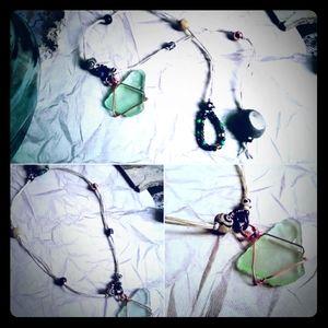 Handmade Sea Glass & Beaded Hemp Choker Necklace